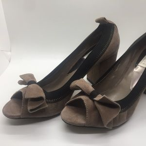 Suede Badgley Mischka Bow Heels
